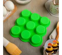 Форма для выпечки «Круг», 15,5×15,5×2 см, 9 ячеек (d=3,8 см), цвет МИКС