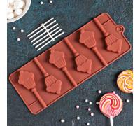 Форма для леденцов и мороженого «Кексик», 6 ячеек