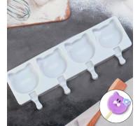 Форма кондитерская для леденцов и мороженого «Коты», 39×15 см, 4 ячейки