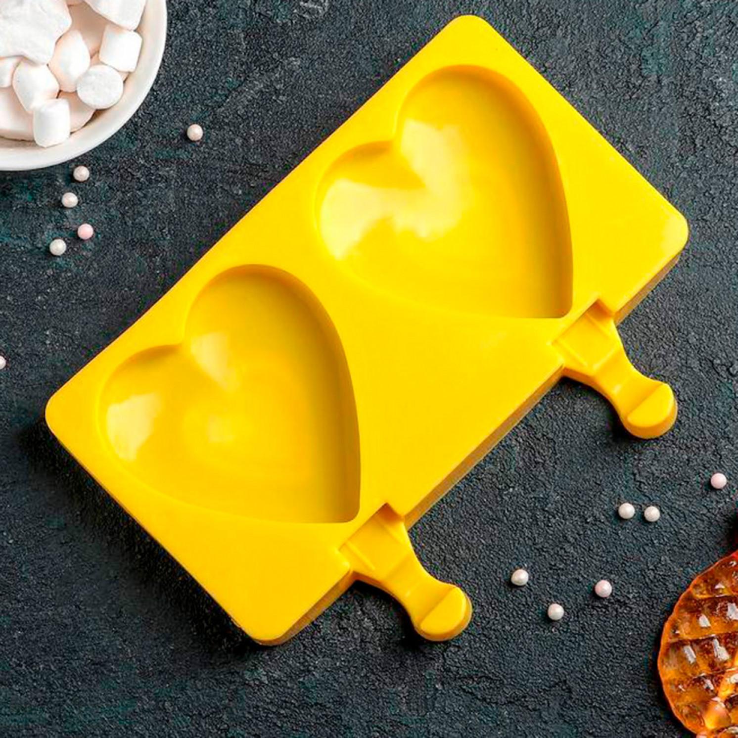 Форма для леденцов и мороженого «Сердечко», 19,5×14,5 см, 2 ячейки (8,4×9 см), цвет МИКС