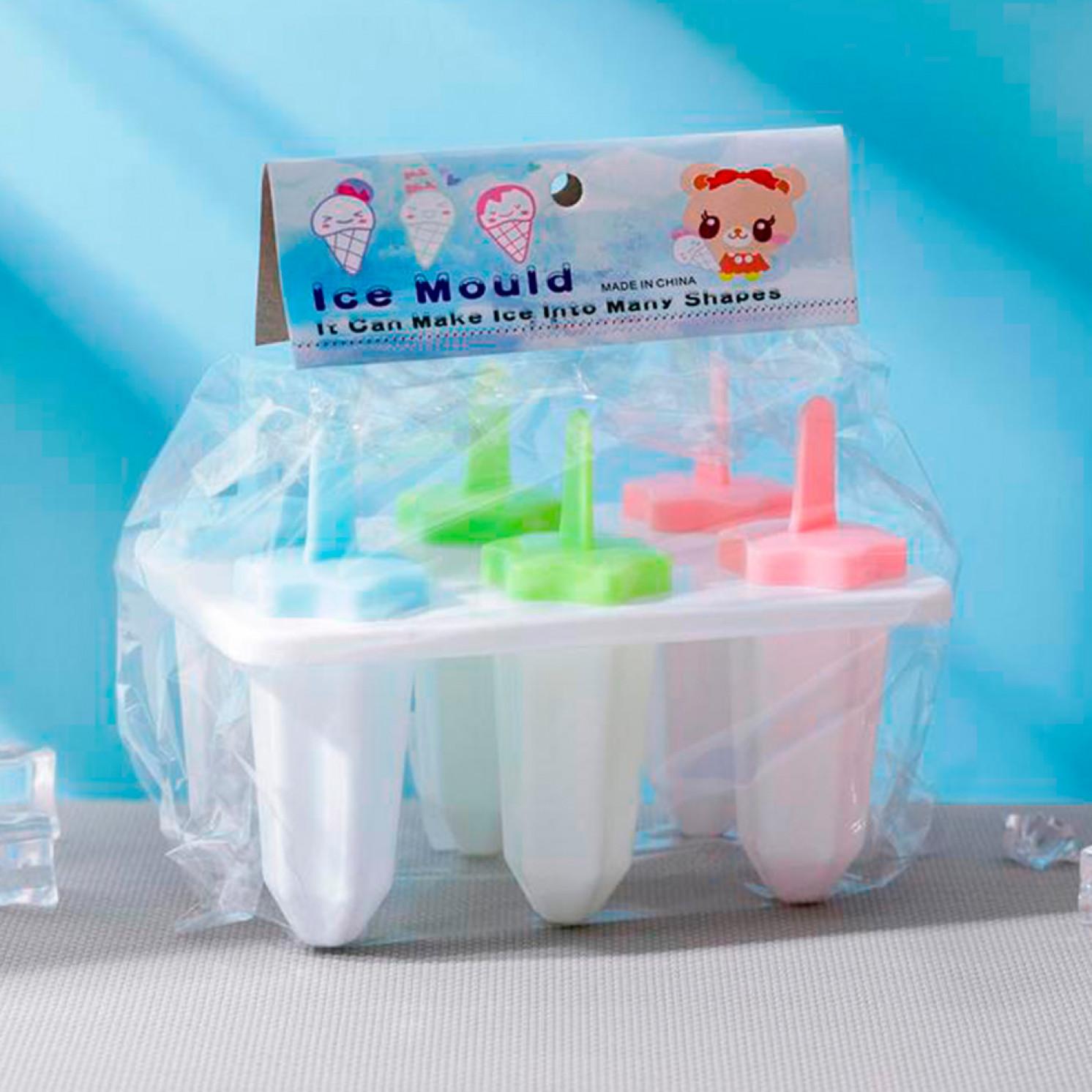 "Форма для мороженого ""Звезда"", 6 ячеек, палочки в комплекте, цвета МИКС"