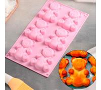 Форма для выпечки «Мишка», 28,5×17 см, 6 ячеек (8,5×6 см), цвет МИКС