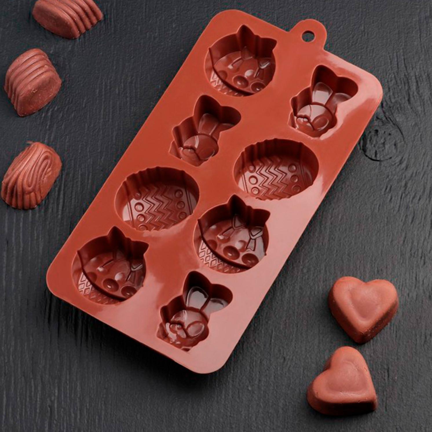 Форма для льда и шоколада «Пасха», 21,7×11,8×3 см, 8 ячеек, цвет шоколадный
