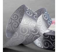 Лента атласная «Узоры», 25 мм × 23 ± 1 м, цвет тёмно-серый №059