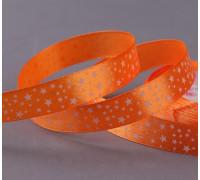 Лента атласная «Звёзды», 15 мм × 23 ± 1 м, цвет оранжевый №025