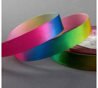 Лента атласная «Радуга», 15 мм × 18 ± 1 м, разноцветная