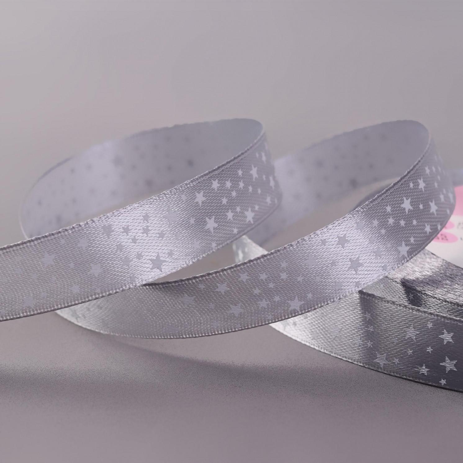 Лента атласная «Звёзды», 15 мм × 22 ± 1 м, цвет серый №59