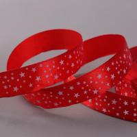 Лента атласная «Звёзды», 15 мм × 22 ± 1 м, цвет красный №026