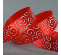 Лента атласная «Узор», 25 мм × 23 ± 1 м, цвет белый/красный №026