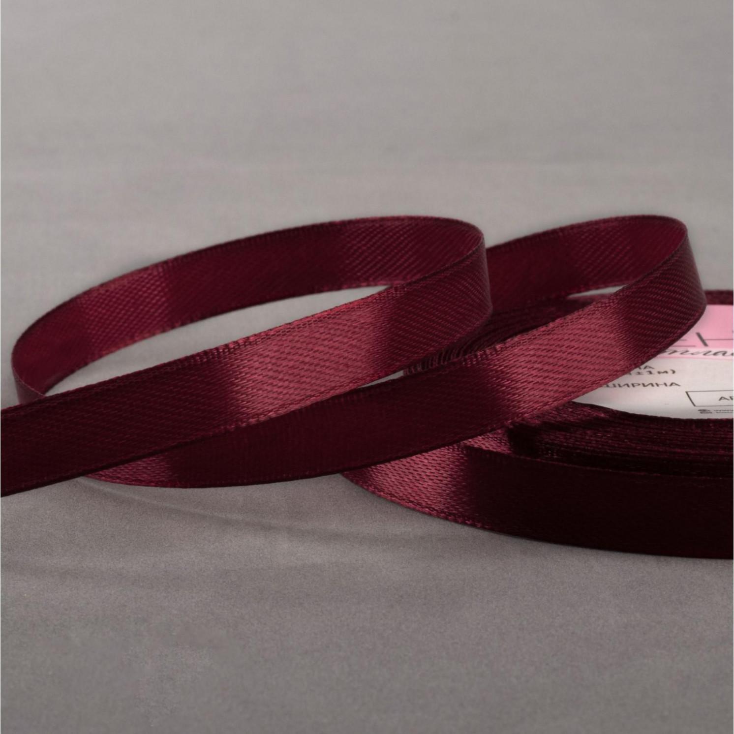 Лента атласная, 10 мм × 23 ± 1 м, цвет бордовый №156