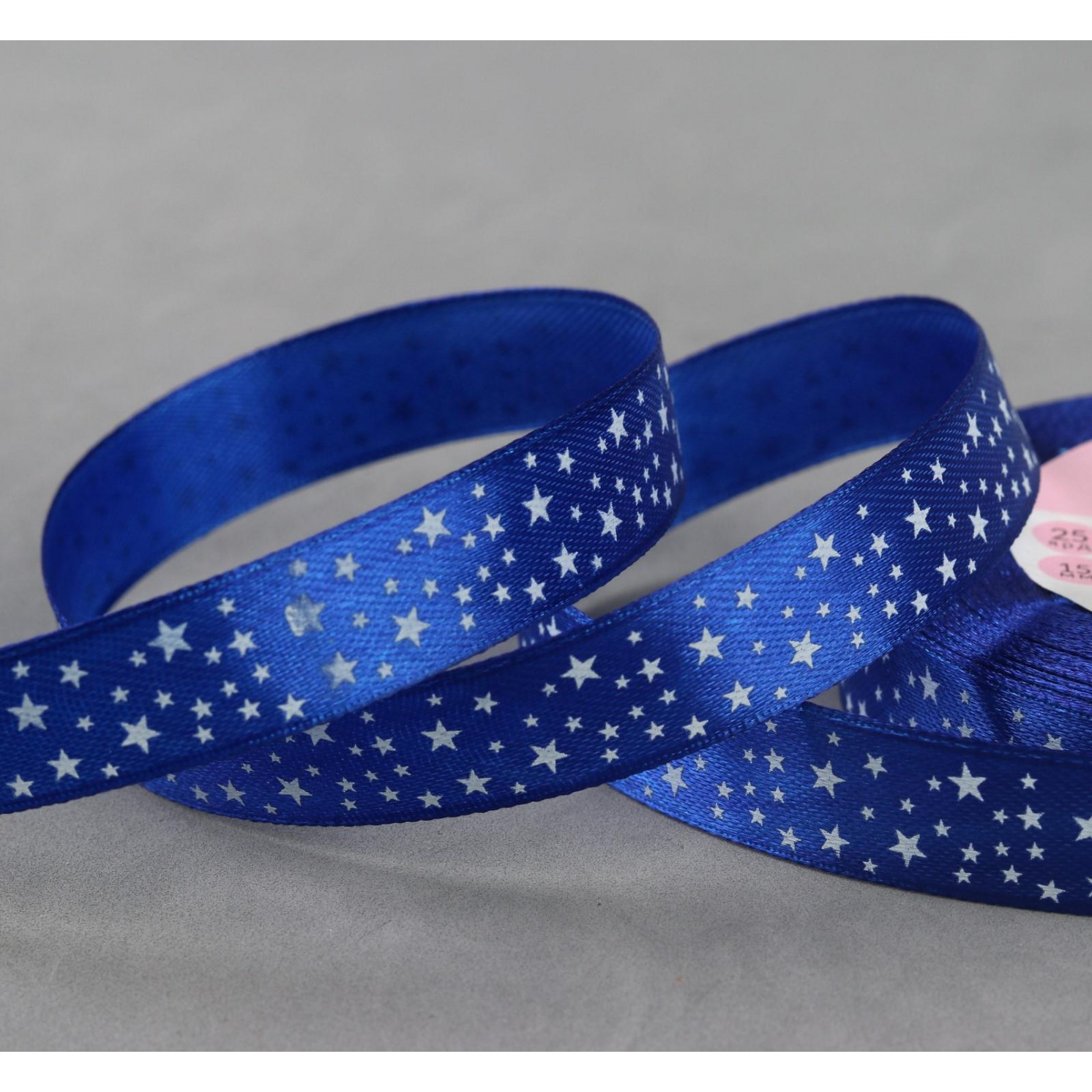 Лента атласная «Звёзды», 15 мм × 23 ± 1 м, цвет синий №040