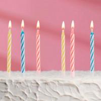 """Свечи для торта незадуваемые """"Яркая полоса"""" (набор 10 шт и 10 подставок)"""