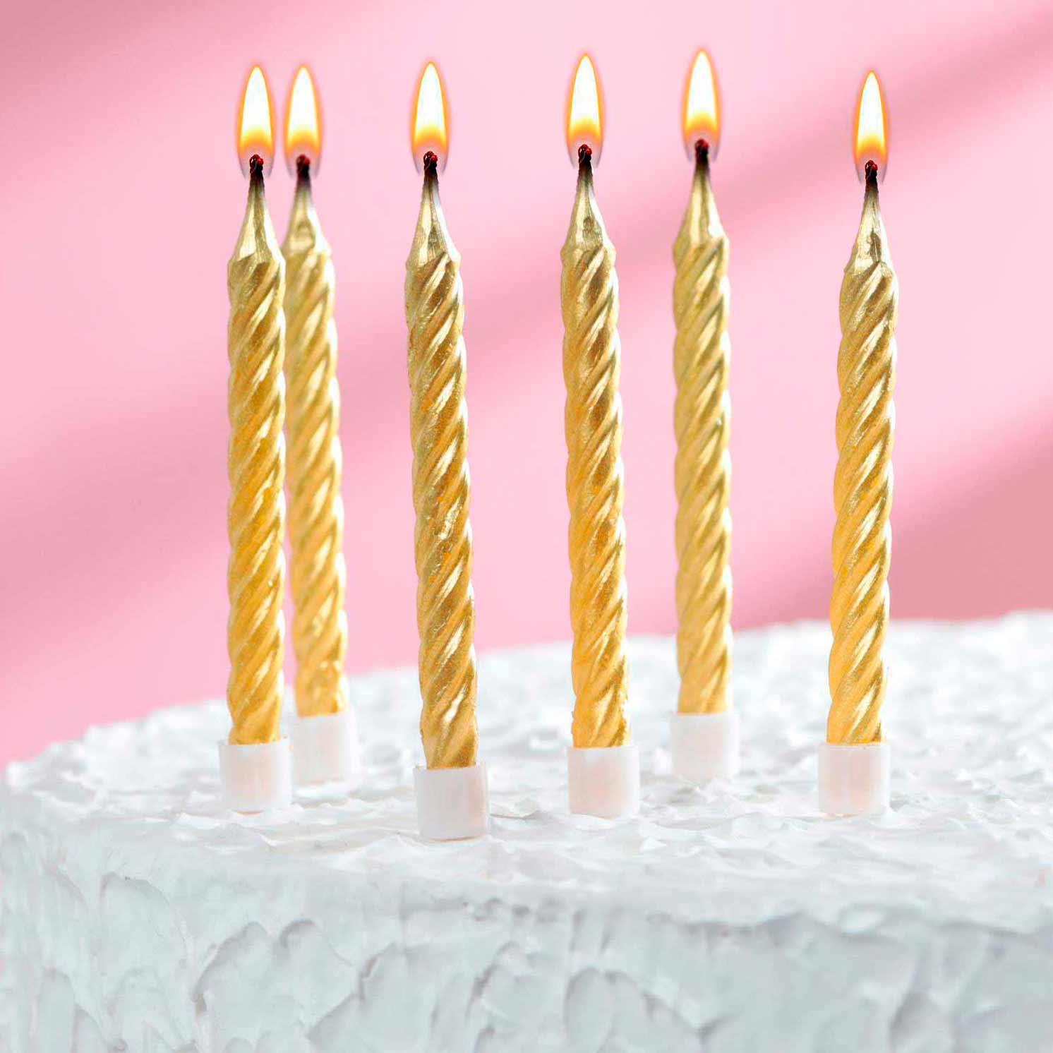 Свечи в торт Золотые средние с подставками, золотые, (набор 6шт)