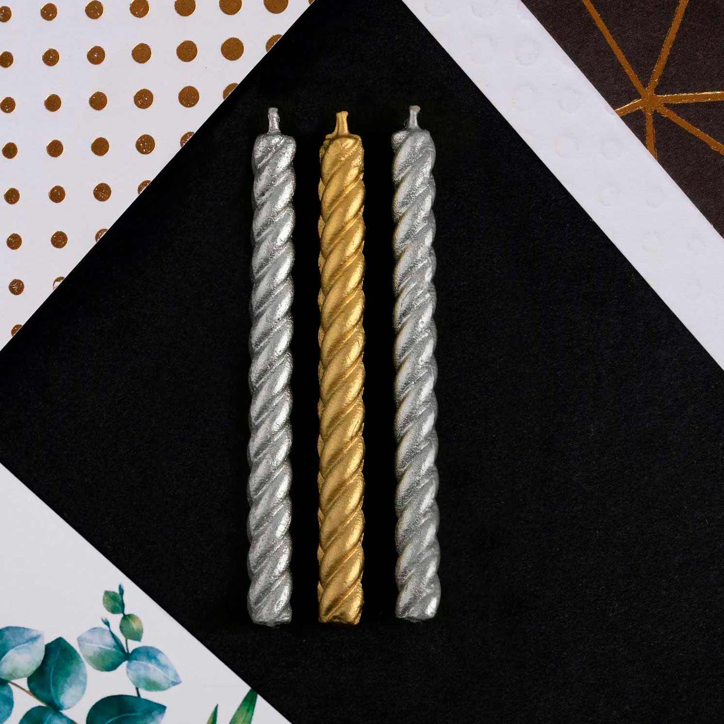 Набор свечей в торт, золотые и серебряные , 16 шт., 5 х 65 мм