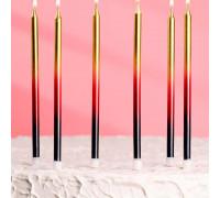 """Свечи в торт """"С днём рождения"""" 6 шт, высокие, чёрный, бордовый, золотой"""