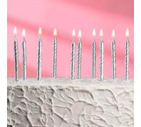 """Набор свечей для торта """" С Днём Рождения"""", серебряные, 10 штук"""