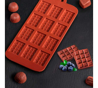 Форма для льда и шоколада 21×11 см «Плитка», 12 ячеек (2,7×3,9 см), цвет шоколадный