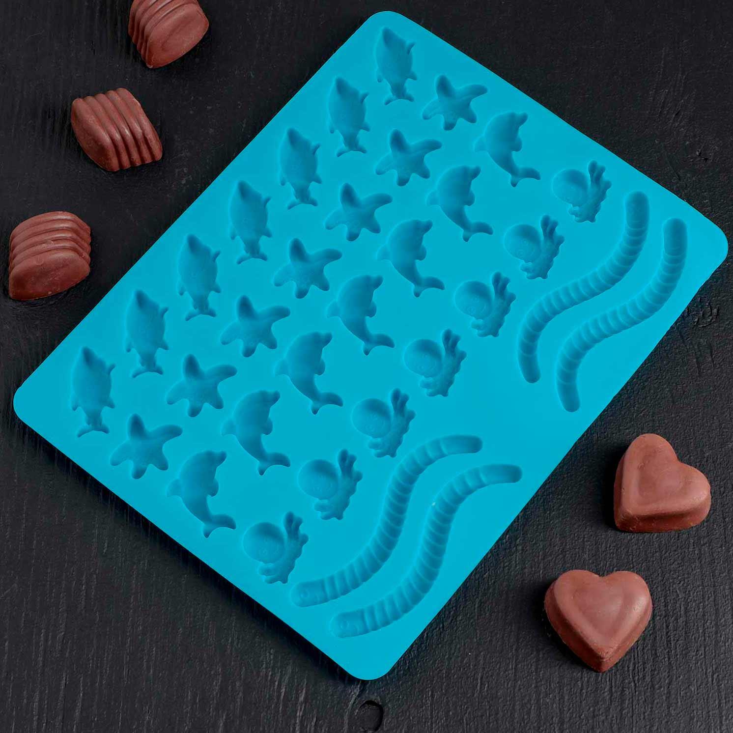 "Форма для мармелада 22,3×17,2 см ""Морские сладости"", 32 ячейки, цвет МИКС"
