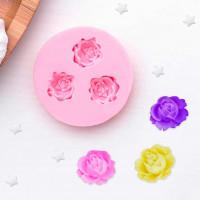 Молд силиконовый «Три малых розы», 4,5 см, цвет МИКС