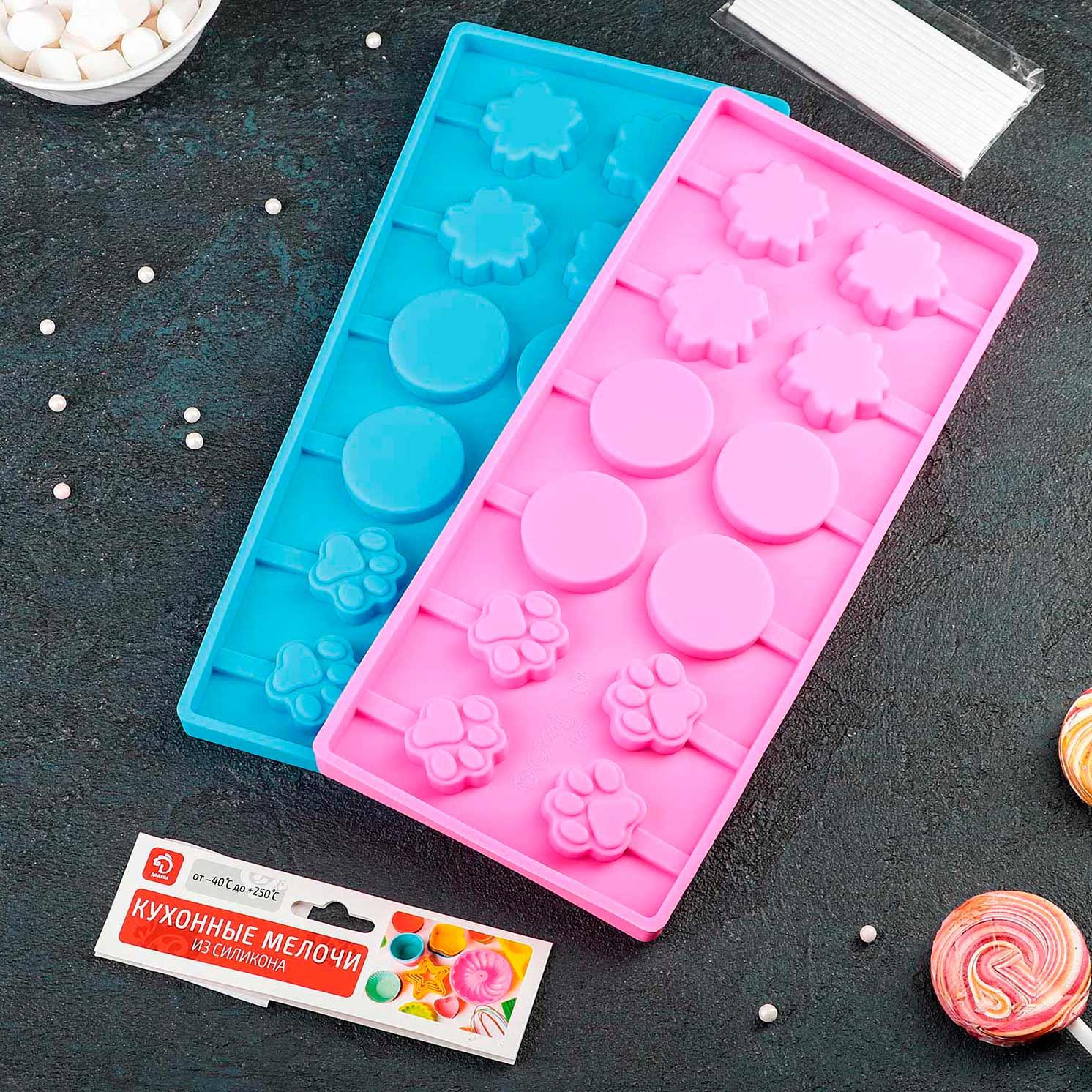 Форма для леденцов и мороженого «Вкусная сладость», 26,5×11,5 см, 12 ячеек, цвет МИКС
