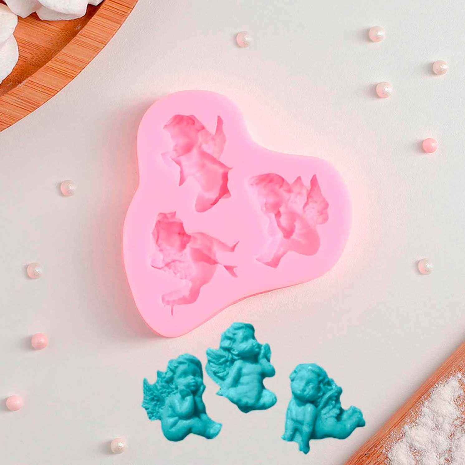 Молд силиконовый «Ангелочки в ожидании», 8×7 см, цвет МИКС