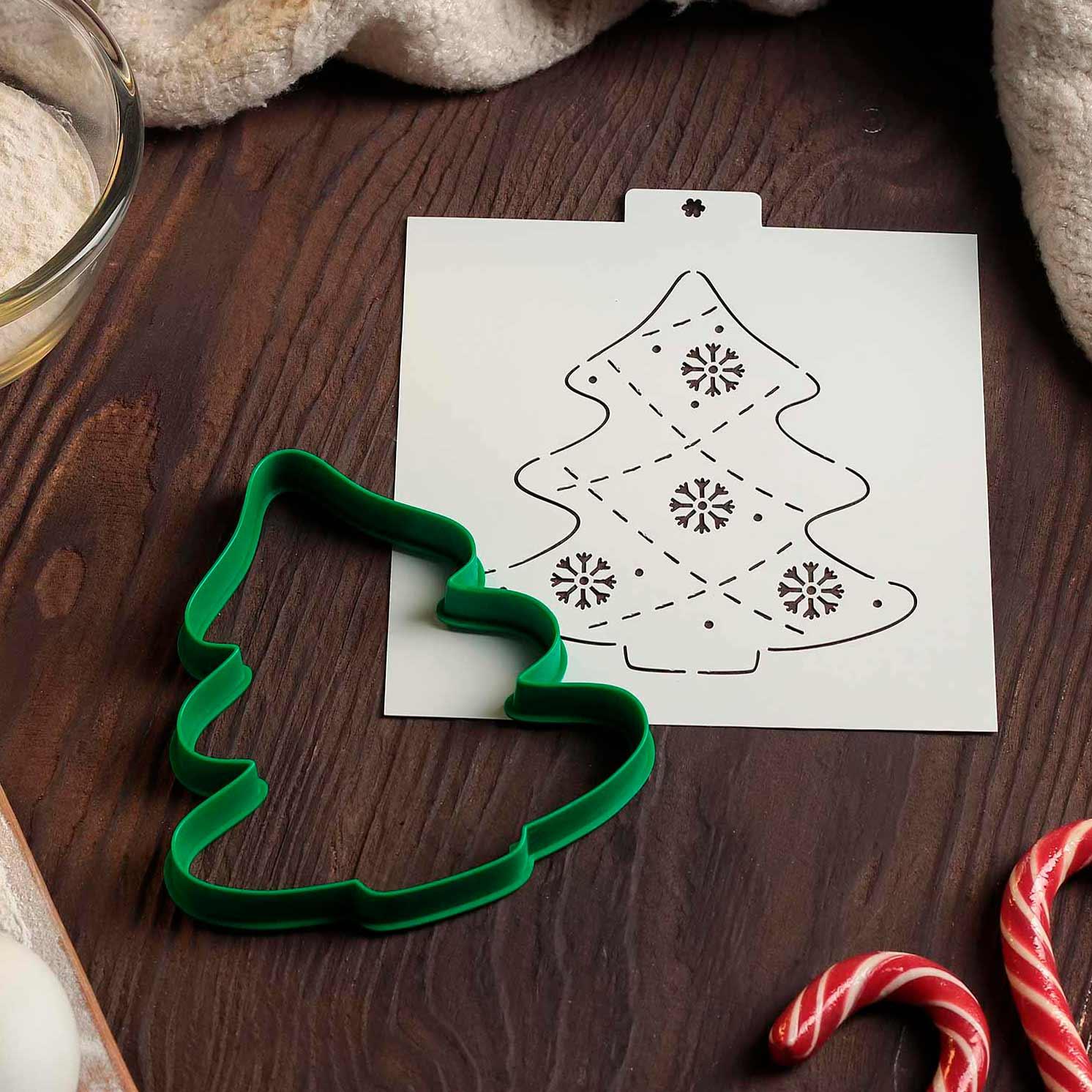 Форма для создания пряников под роспись «Ёлка», 12,2×11,5×1,5 см, цвет зелёный