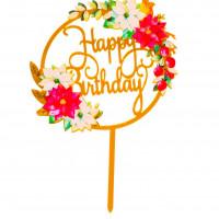 Топпер «С днём рождения», букет