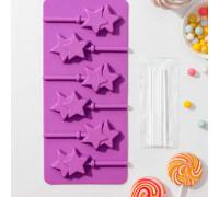 Форма для леденцов «Звёзды», 9,5×24 см, 6 ячеек, палочки в комплекте, цвет МИКС