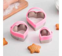 Набор форм для вырезания печенья «Сердце», 10×8 см, 3 шт, цвет МИКС
