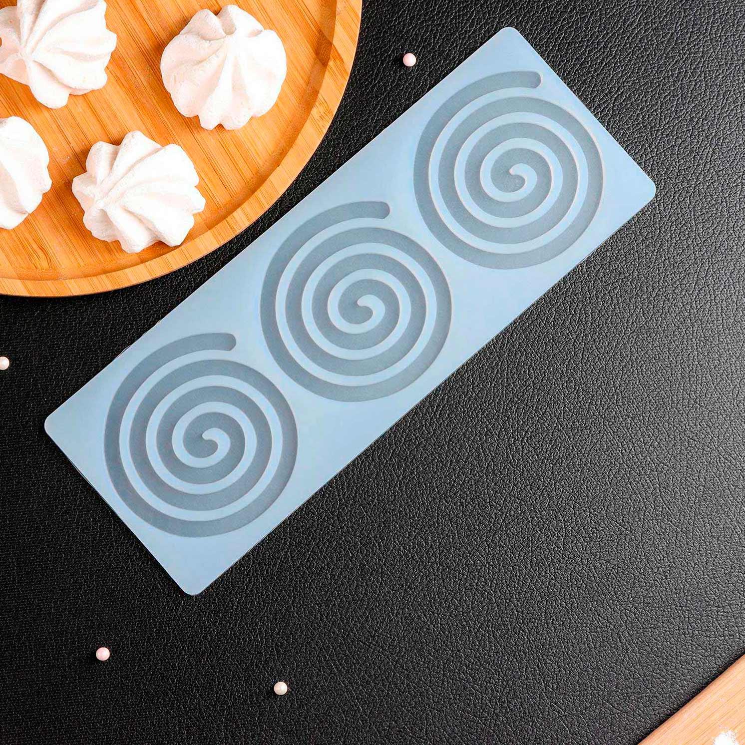 Коврик для айсинга «Спираль», 3 ячейки, 24,5×9×0,3 см, цвет прозрачный