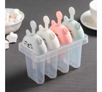 Форма для мороженого «Кис-кис», 4 ячейки, цвет МИКС