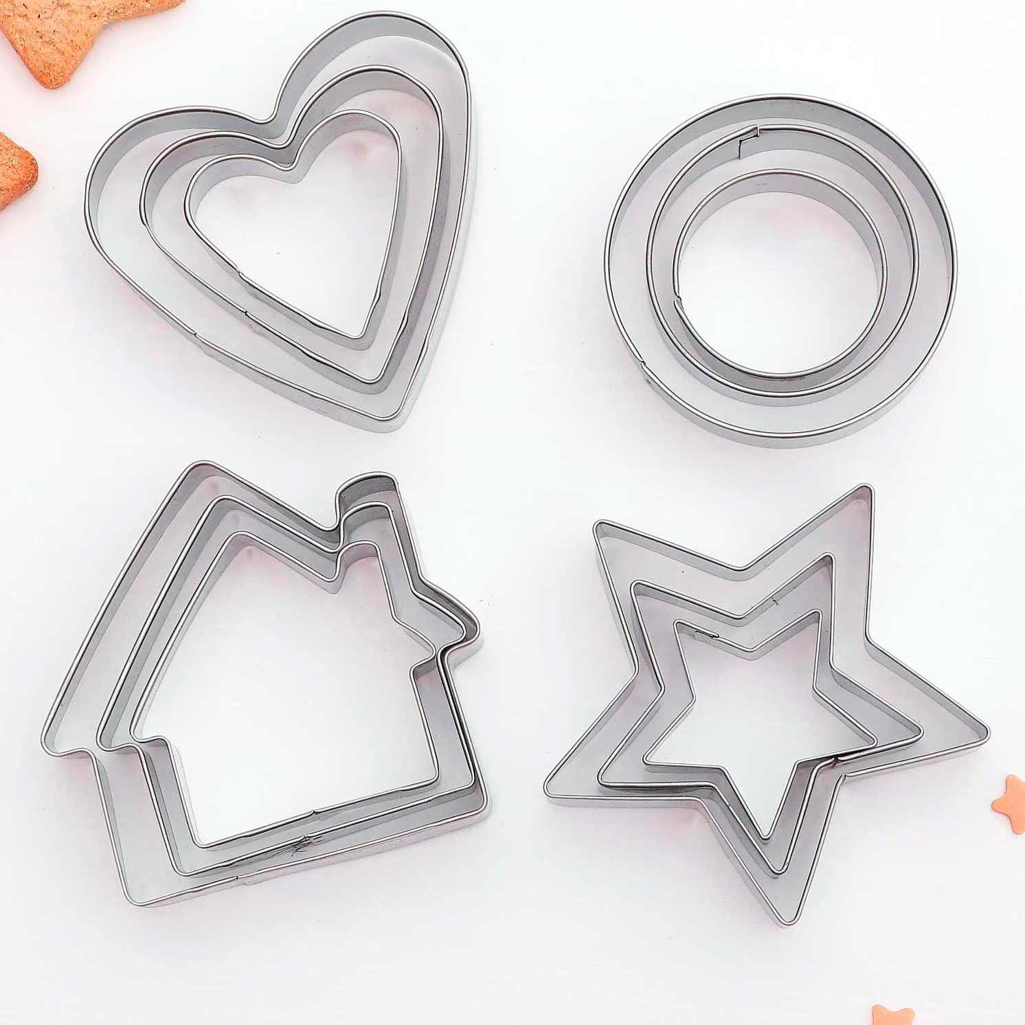 Набор форм для вырезания печенья «Домик. Круг. Сердце. Звезда», 12 шт
