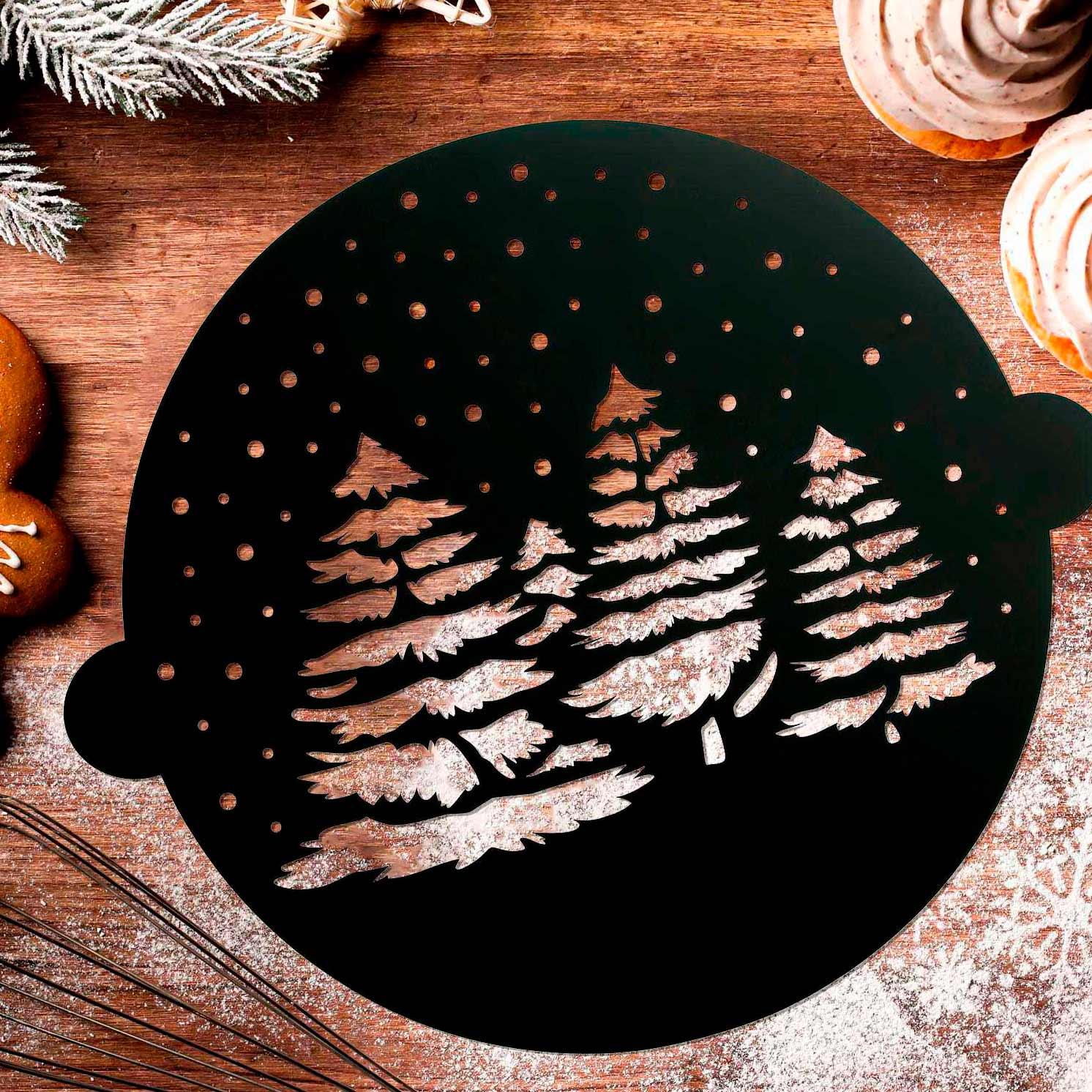 Трафарет для выпечки «Зимний лес», 30 × 35 см