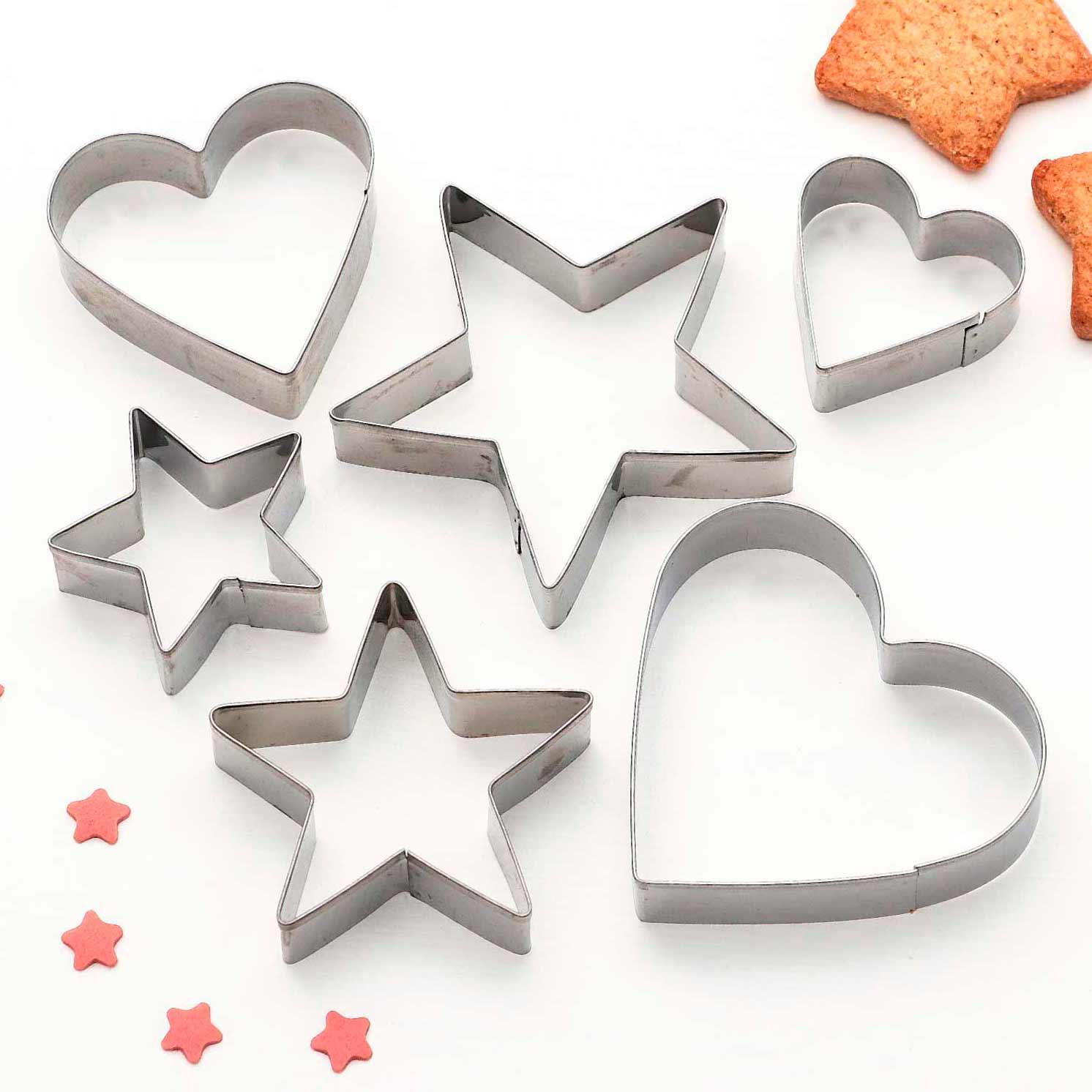 Набор форм для вырезания печенья «Сердце, звёздочка», 7×13 см, 6 шт