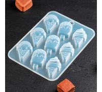 Форма для льда и кондитерских украшений «Мороженое», 16×11×1 см, 9 ячеек, цвет прозрачный