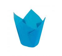 Капсула бумажная для пирожных тюльпан h=80мм d=50 синяя, 50 шт/уп