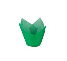 Капсула бумажная для пирожных тюльпан h=80мм d=50 зелёная, 50 шт/уп