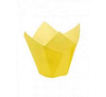 Капсула бумажная для пирожных тюльпан h=80мм d=50 жёлтая, 50 шт/уп