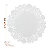 Ажурные салфетки для торта, бумажные, белые, d 20 см, 50 шт/уп