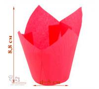 Капсула бумажная для пирожных тюльпан h=80мм d=50 темно-розовая, 50 шт/уп