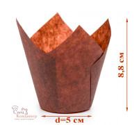 Капсула бумажная для пирожных тюльпан h=80 мм d=50 коричневая, 50 шт/уп
