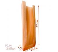 Пакет бумажный с окном, 140х70х370 мм, влагопрочная бумага, 40 г/кв.м, коричневый