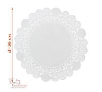 Ажурные салфетки для торта, бумажные, белые, d 36 см, 50 шт/уп