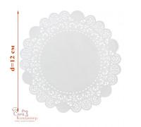 Ажурные салфетки для торта, бумажные, белые, d 12 см, 50 шт/уп