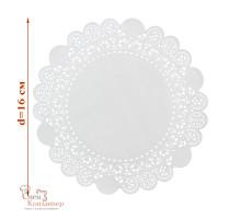 Ажурные салфетки для торта, бумажные, белые, d 16 см, 50 шт/уп