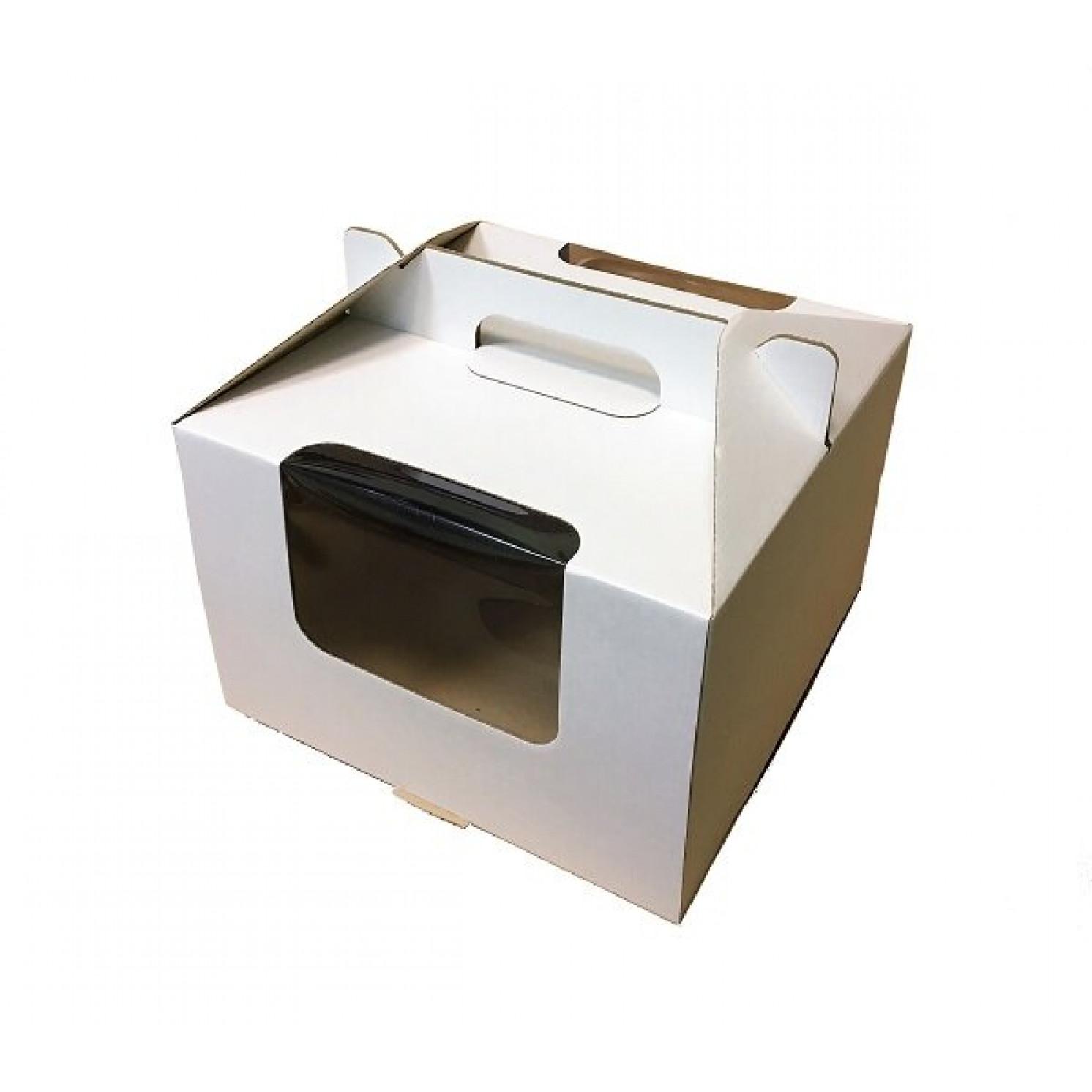 Коробка с ручками 30*30*20 гофрокартон с окном