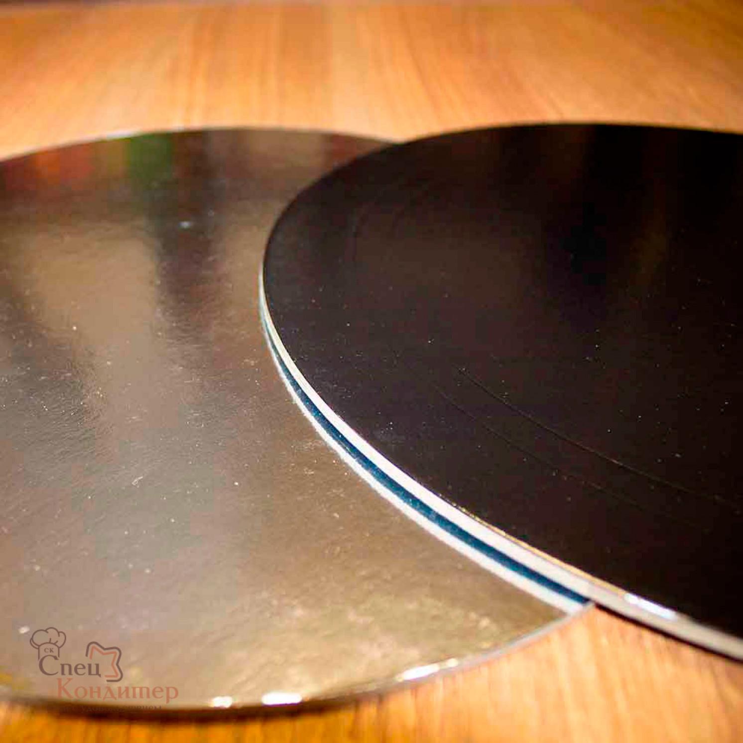 Подложка усиленная черная/серебро D 300 мм ( Толщина 3,2 мм )