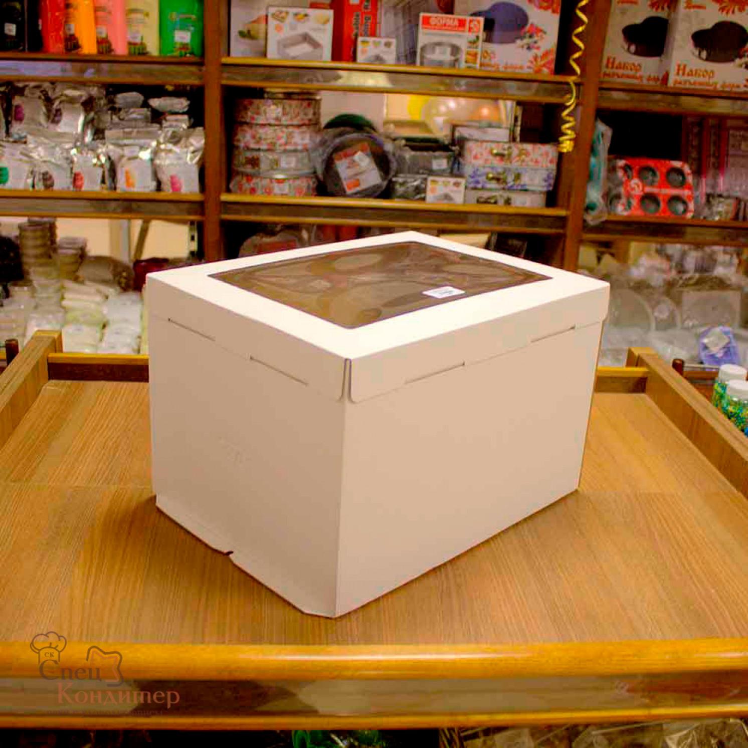 Короб картонный белый С ОКНОМ 300х400х260мм
