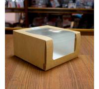 """Короб для тортов с окном """"Крафт"""" 180*180*100 мм"""