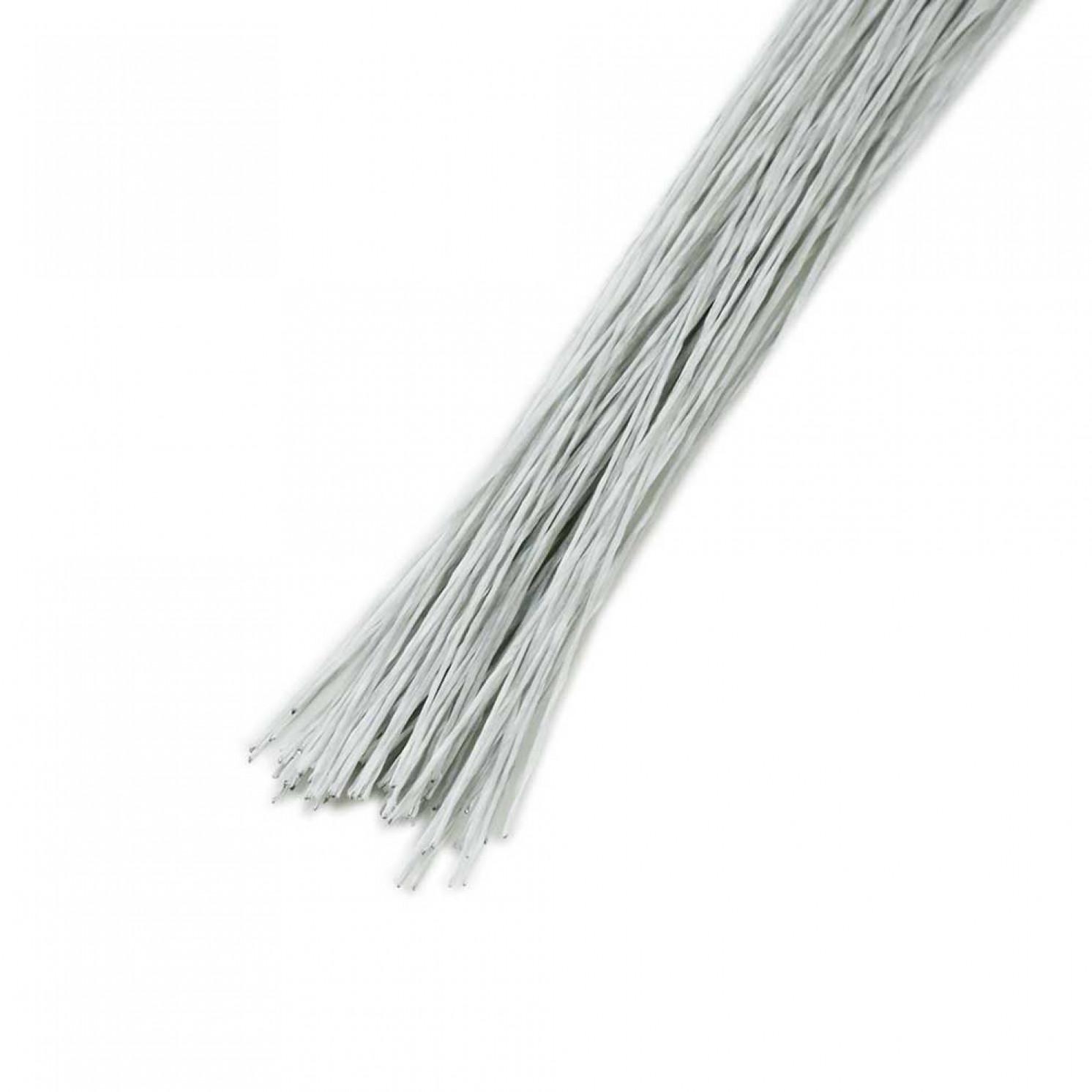 Проволока в бумажной обмотке пучок 80 шт, 36 см D=0,55мм ;№ 24 белая